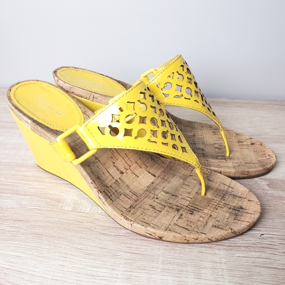 COACH Yellow Patent Thong Wedge Sandals size 9.5